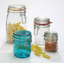 Coloured food bottles